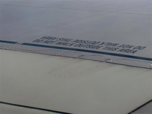 "Foto aripa avion text ""Do not walk outside this area"""""